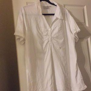 Avenue Tops - White Collard T-shirt